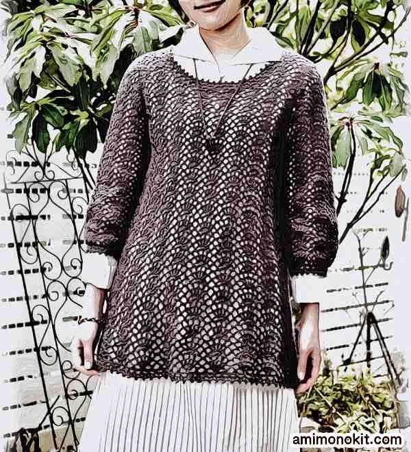 無料編み図綿糸で編む七分袖のチュニック2