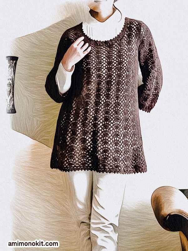 無料編み図綿糸で編む七分袖のチュニック3
