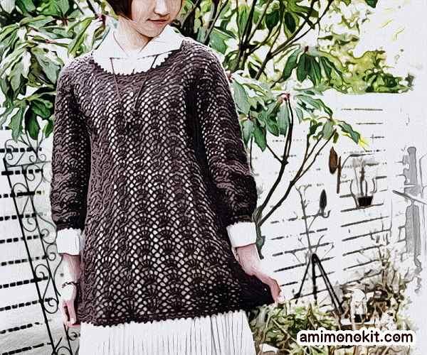 無料編み図綿糸で編む七分袖のチュニック6