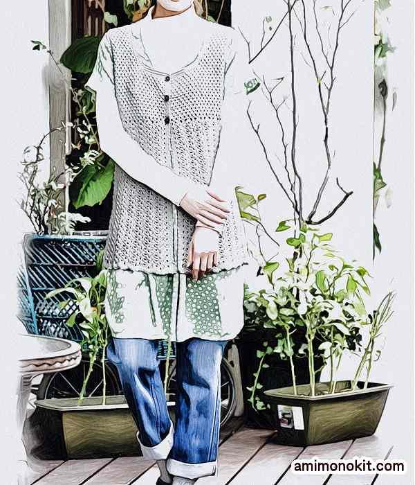 無料編み図かぎ針編みコットンウールのチュニック作品♪213w-11