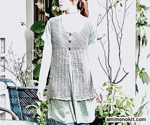 無料編み図かぎ針編みコットンウールのチュニック作品♪213w-12