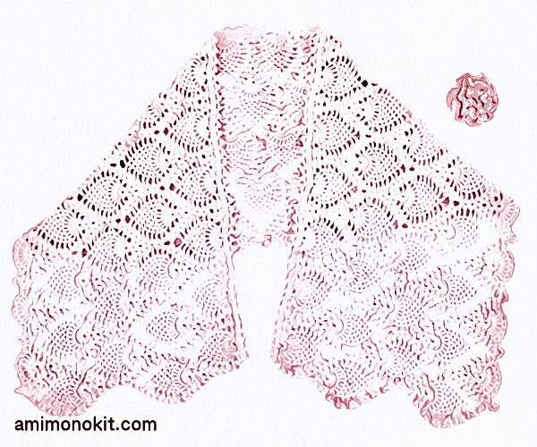 無料編み図パイナップル模様のショールとコサージュ3