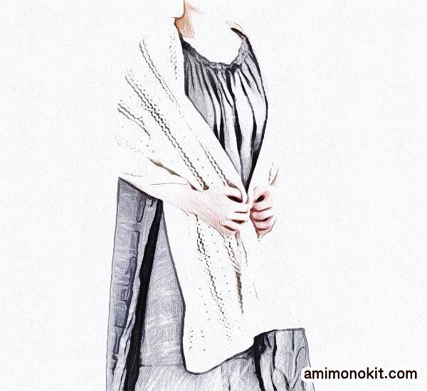 無料編み図綿糸で編むボリュームのある幅広ショール4