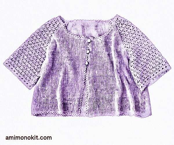 無料編み図フレンチリネンで編むふんわり五分袖カーディガン3