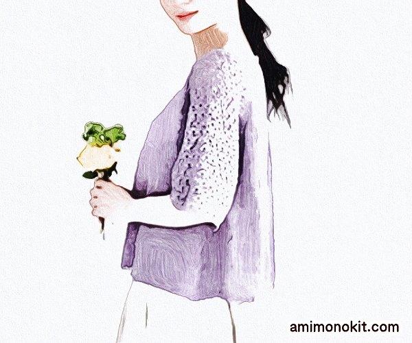 無料編み図フレンチリネンで編むふんわり五分袖カーディガン4