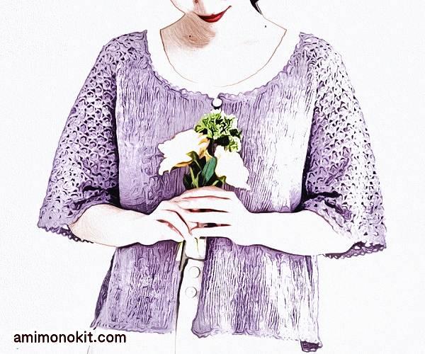 無料編み図フレンチリネンで編むふんわり五分袖カーディガン1