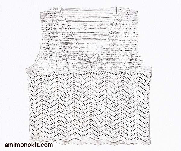 無料編み図リネン透かし模様かぎ針編みVネックベスト3