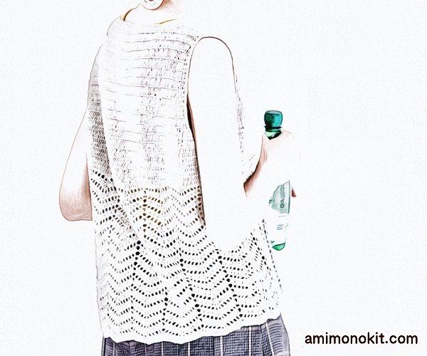 無料編み図リネン透かし模様かぎ針編みVネックベスト1