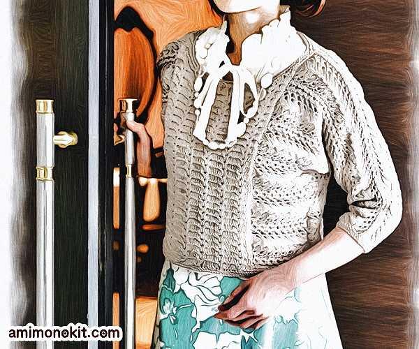 無料編み図ドルマンスリーブ綿セーター毛糸ピエロ2
