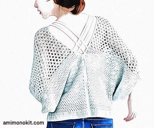 無料編み図毛糸ピエロ透かしドルマンカーディガン絹糸2