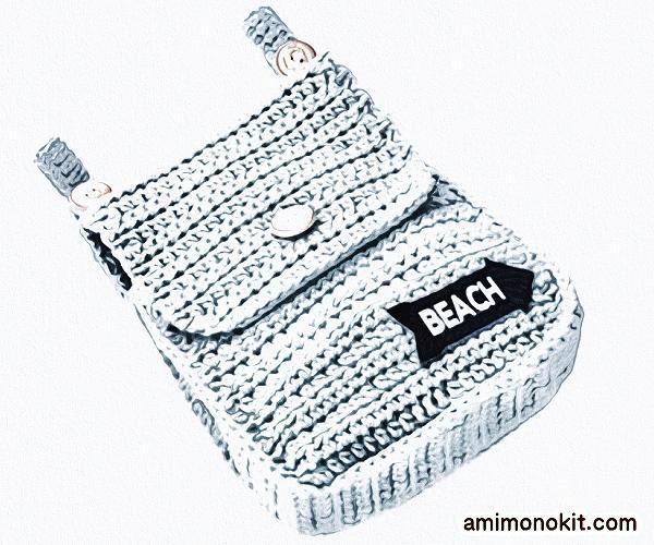 無料編み図かぎ針編みベルトポーチ毛糸ピエロ3
