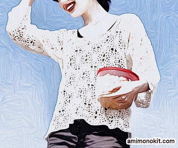 無料編み図麻リネンかぎ針編みモチーフトップス1