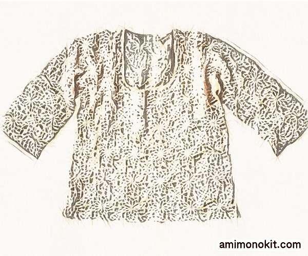 無料編み図麻リネンかぎ針編みモチーフトップス5