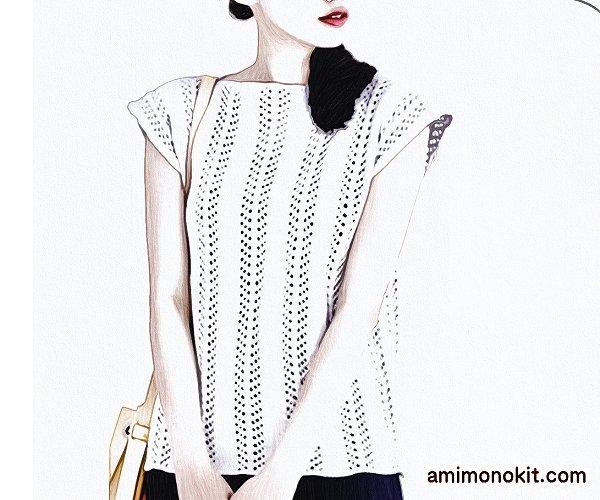無料編み図フレンチ袖のプルオーバー糸コットンシルク1