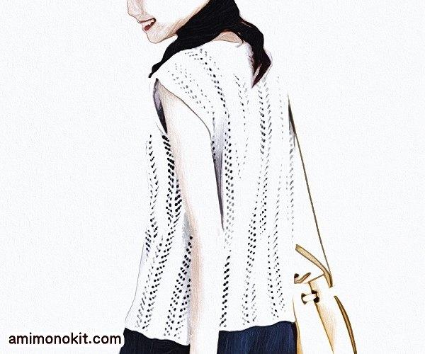 無料編み図フレンチ袖のプルオーバー糸コットンシルク4