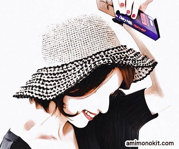無料編み図帽子リゾートハット人気ラフィア糸つば広帽1