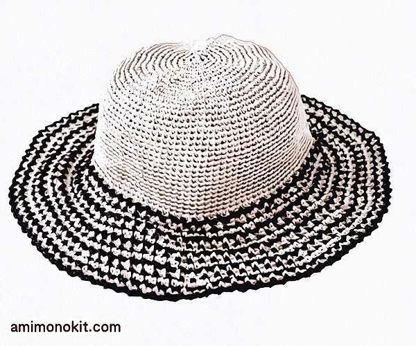 無料編み図帽子リゾートハット人気ラフィア糸つば広帽3