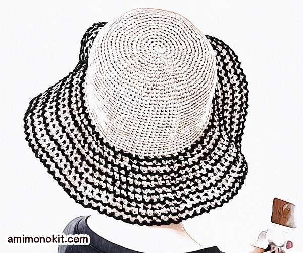 無料編み図帽子リゾートハット人気ラフィア糸つば広帽4