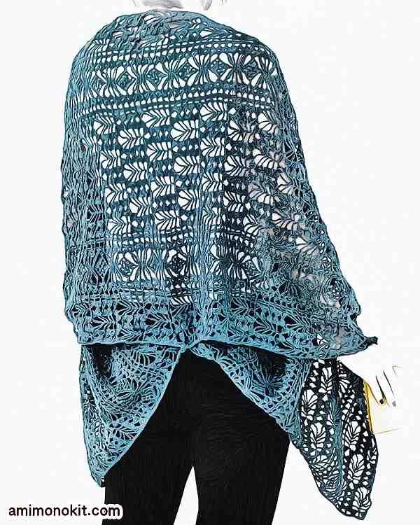 無料編み図大判ショールかぎ針編み総レース透かし編みリネン2