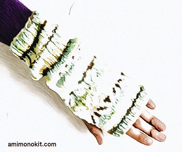 無料編み図編み込みリーフ柄ハンドウォーマー棒針編みミトン2