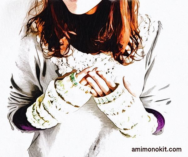 無料編み図編み込みリーフ柄ハンドウォーマー棒針編みミトン3