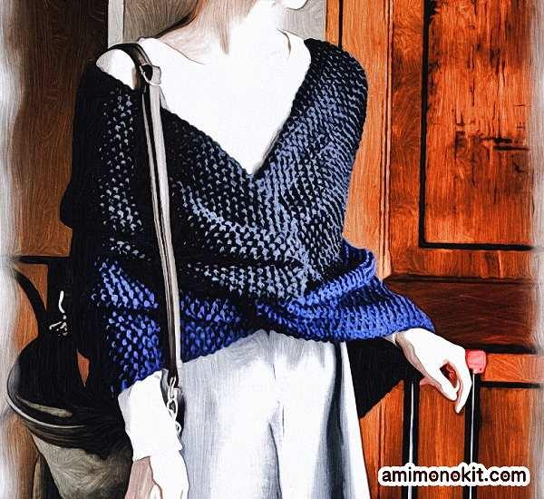 無料編み図クロススヌード極太棒針編みバイカラー肩まで4