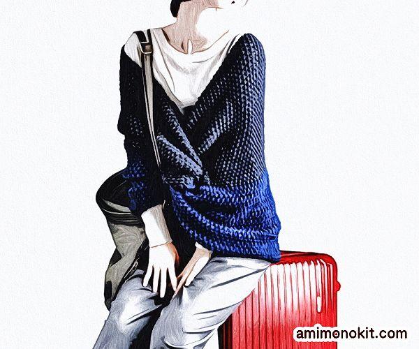 無料編み図クロススヌード極太棒針編みバイカラー肩まで1