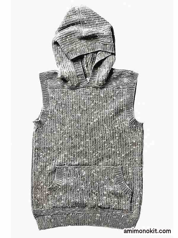 無料編み図メンズ棒針編みフード付きベスト綿ウール3