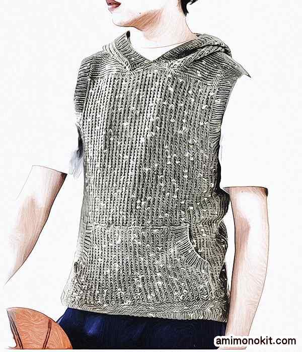 無料編み図メンズ棒針編みフード付きベスト綿ウール1