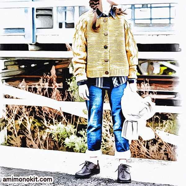無料編み図キッズ毛糸ラグラン袖のカーディガン可愛いカジュアル1