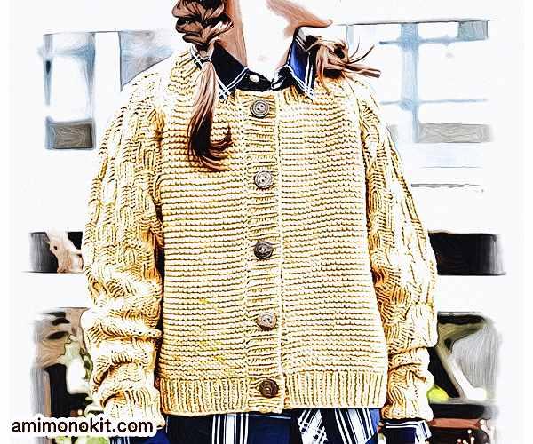 無料編み図キッズ毛糸ラグラン袖のカーディガン可愛いカジュアル4