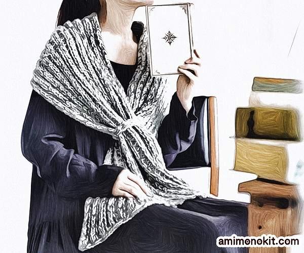無料編み図ショールたっぷりサイズ大判ミックスカラー1