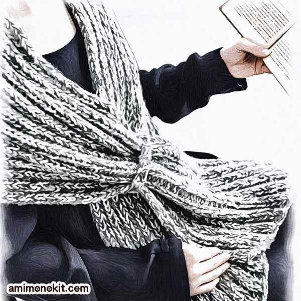 無料編み図ショールたっぷりサイズ大判ミックスカラー2
