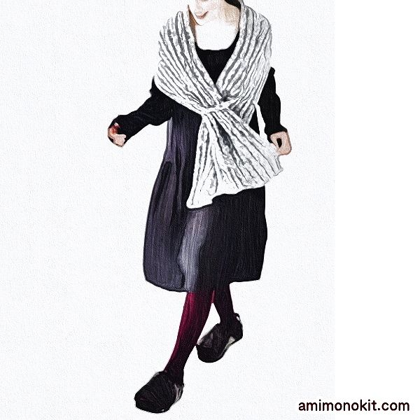 無料編み図ショールたっぷりサイズ大判ミックスカラー4