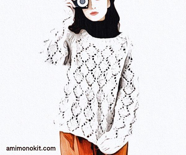 無料編み図プル棒針編み透かし模様ダイスセーター2