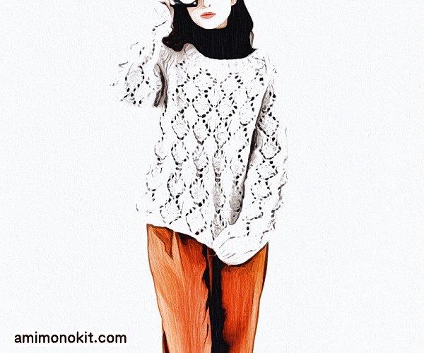 無料編み図プル棒針編み透かし模様ダイスセーター4