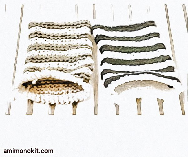 無料編み図アクリルたわし手編みボーダー柄1