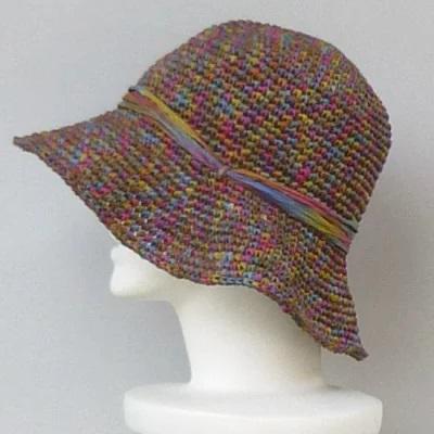 帽子編み物セット和紙リボン手編みキット女優帽