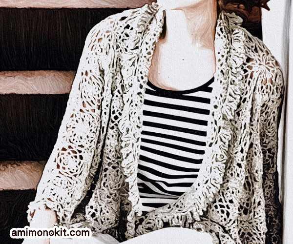 無料編み図ボレロ絹糸シルクモチーフ編みカーディガン2