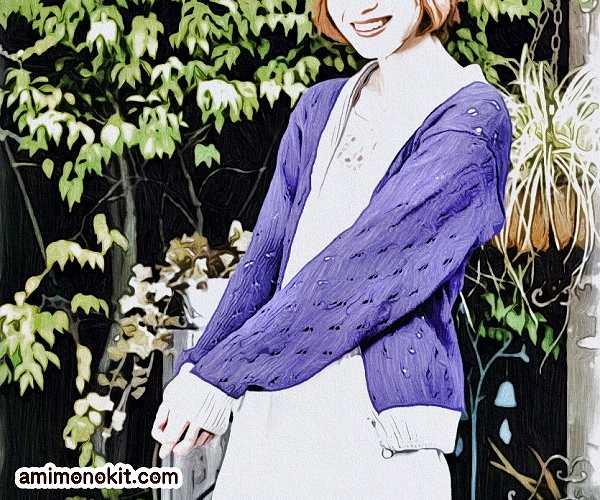 無料編み図へちま衿カーディガン絶妙な配色バイカラー1