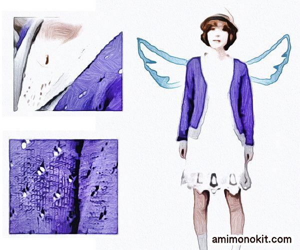 無料編み図へちま衿カーディガン絶妙な配色バイカラー3