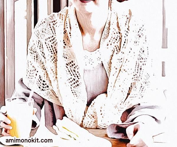 無料編み図ショール手編みフレンチリネンでレーシー可愛い1