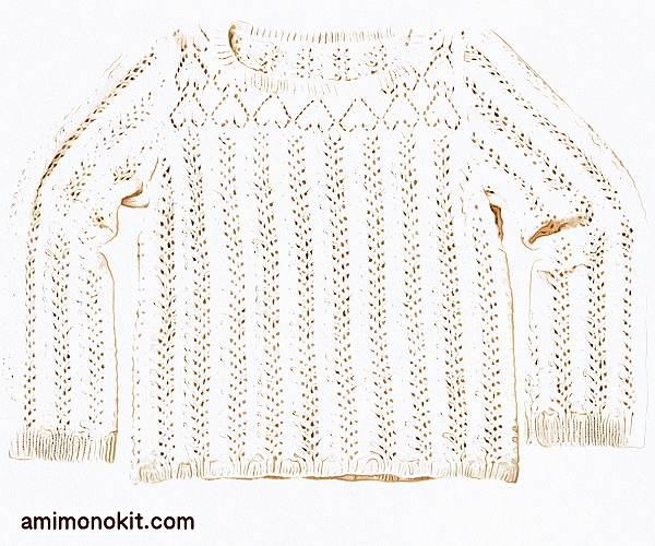 無料編み図サマーセーター綿棒針編みゆったりハート模様3