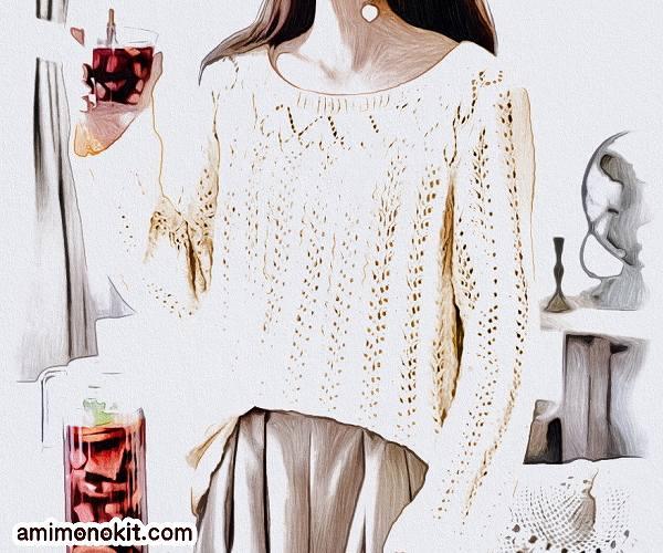 無料編み図サマーセーター綿棒針編みゆったりハート模様1