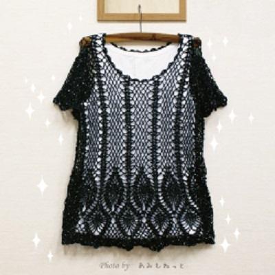 無料編み図チュニックスパンコール手編み