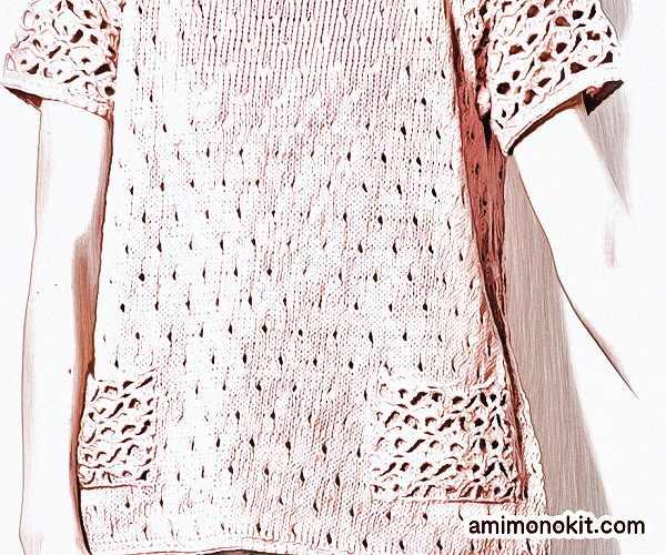 無料編み図プルキュートな半そでガーリー手編み女の子ニット3