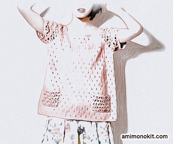 無料編み図プルキュートな半そでガーリー手編み女の子ニット4