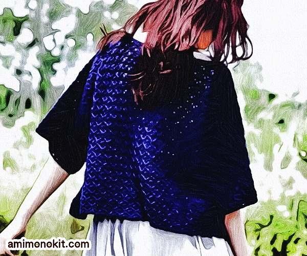 無料編み図プルゆるシルエットがキュートな五分袖サマーセーター3