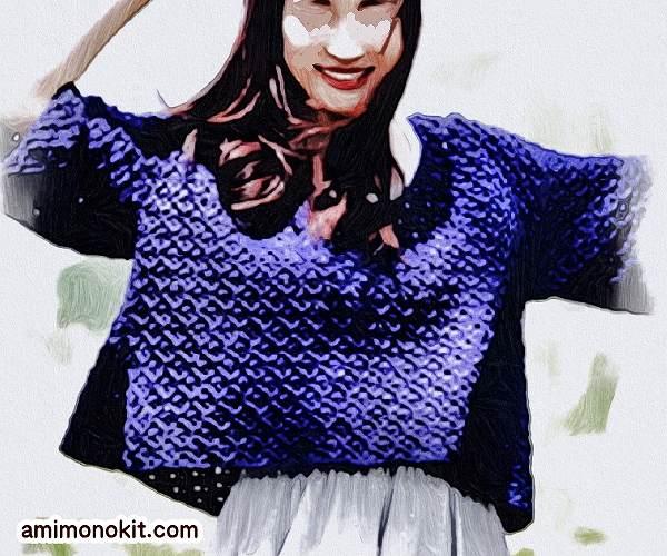 無料編み図プルゆるシルエットがキュートな五分袖サマーセーター1