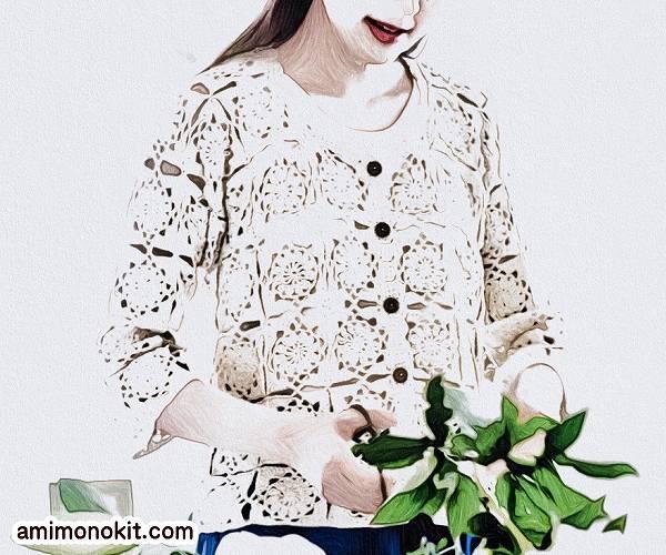 無料編み図カーディガンかぎ針お花モチーフつなぎ透け感1